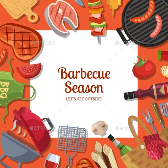 Vector Illustration with Barbecue or Grill Cooking - Miscellaneous Vectors