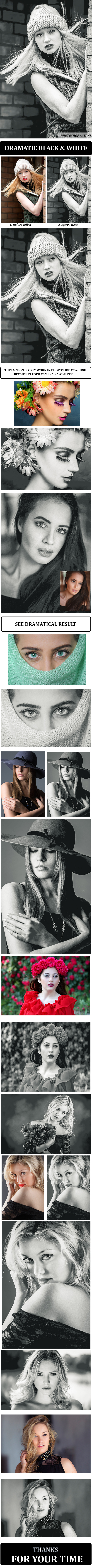 Dramatic Black and White :: Photoshop Action - Photoshop Add-ons