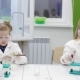 Children Do an Experiment in a Chemistry Lesson Modern Education - VideoHive Item for Sale