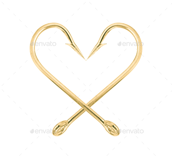 Gold fish hook isolated on a white-5 - Stock Photo - Images