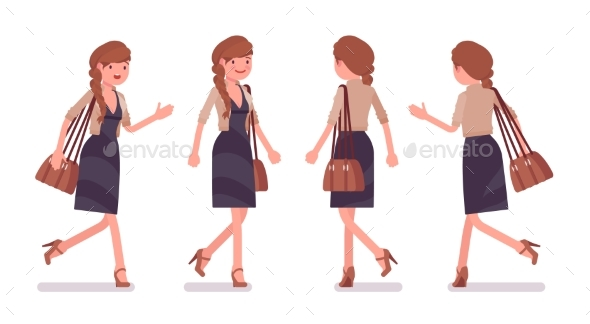 Office Employee Walking, Running - Business Conceptual