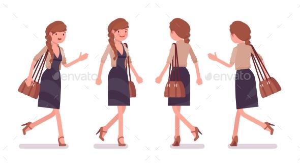 Office Employee Walking, Running - Business Conceptual