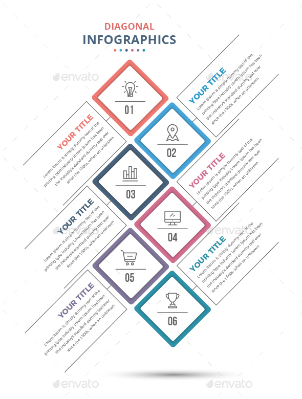 Modern Diagonal Infographics Template - Infographics