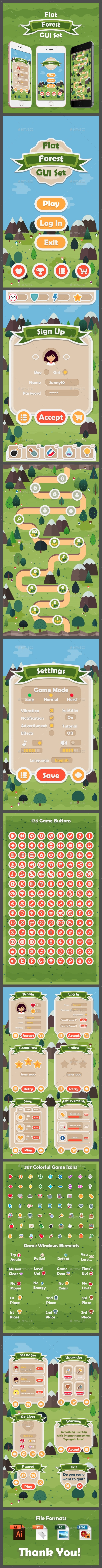 Flat Forest Game User Interface Set - User Interfaces Game Assets