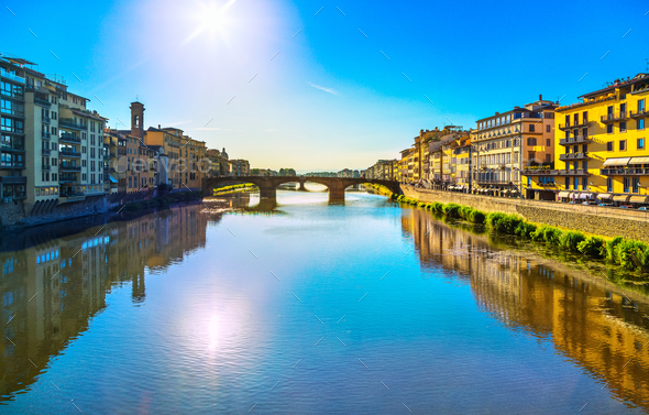 Santa Trinita Bridge on Arno river, sunset landscape. Florence, - Stock Photo - Images