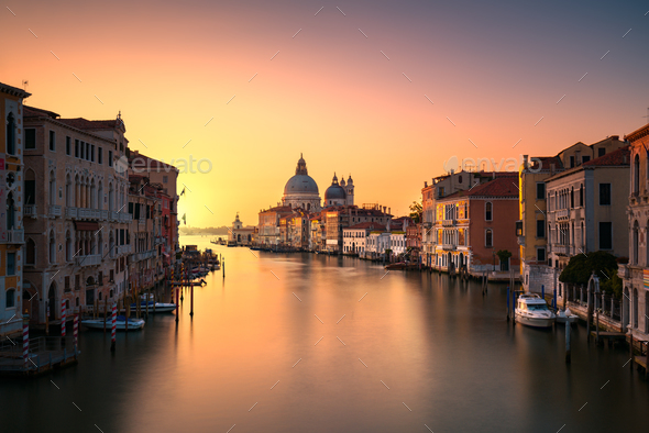 Venice grand canal, Santa Maria della Salute church landmark at - Stock Photo - Images