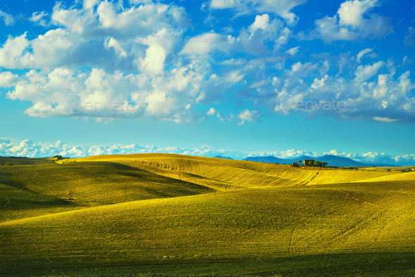 Tuscany countryside panorama, rolling hills and fields on sunset - Stock Photo - Images