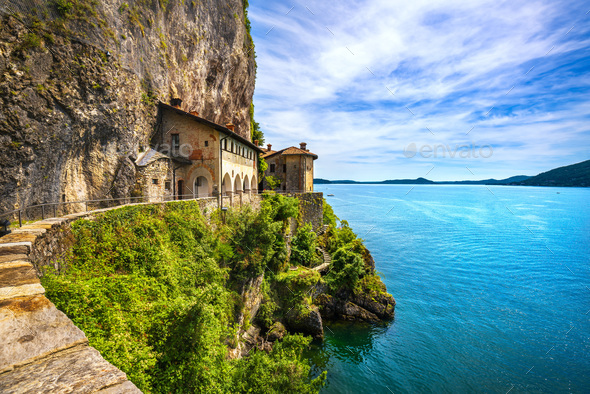 Hermitage or Eremo of Santa Caterina del Sasso monastery. Maggio - Stock Photo - Images