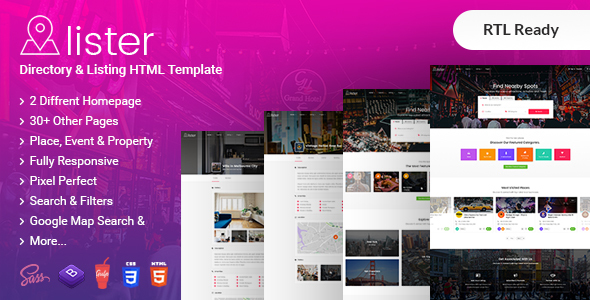Image of Lister - Directory & Listings HTML + RTL Template