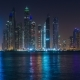 Dubai Marina Night Light Illumination Palm Jumeirah Bay  - VideoHive Item for Sale