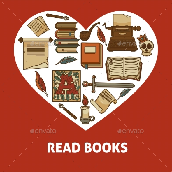 Read Books Poster with Old Relics Set Inside Heart - Miscellaneous Vectors
