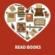 Read Books Poster with Old Relics Set Inside Heart - GraphicRiver Item for Sale