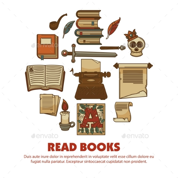 Read Books Agitative Poster with Ancient Written - Miscellaneous Vectors