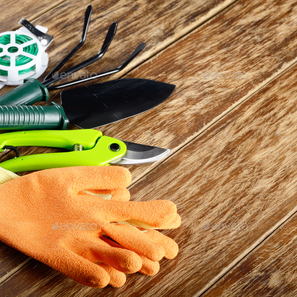 Gardening planting tools of rake shovel wire cutter and gloves - Stock Photo - Images