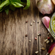 Top view of Pesto sauce and ingredients on wood table with copy- - PhotoDune Item for Sale