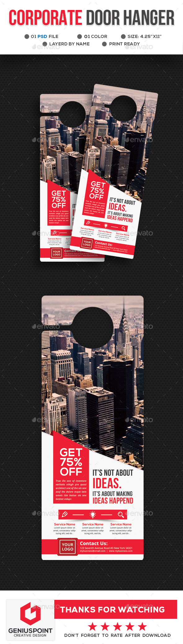 Corporate Door Hanger - Miscellaneous Print Templates