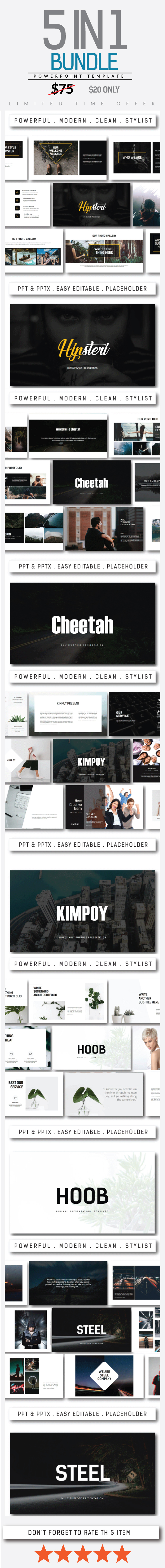 Bundle 5 in 1 Powerpoint Template - PowerPoint Templates Presentation Templates