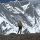 Man with Backpack Climb the Mountain Slope in the Himalayas - VideoHive Item for Sale