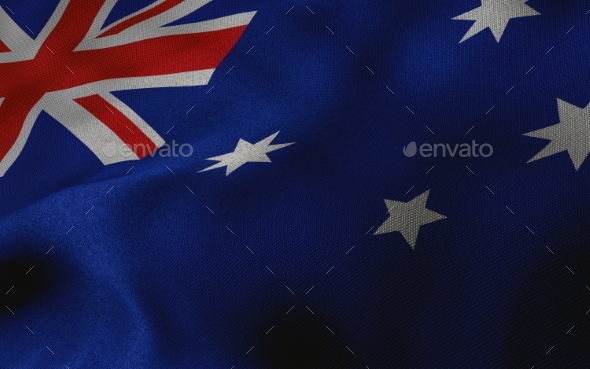 Australian Flag with Fabric Texture - Miscellaneous 3D Renders