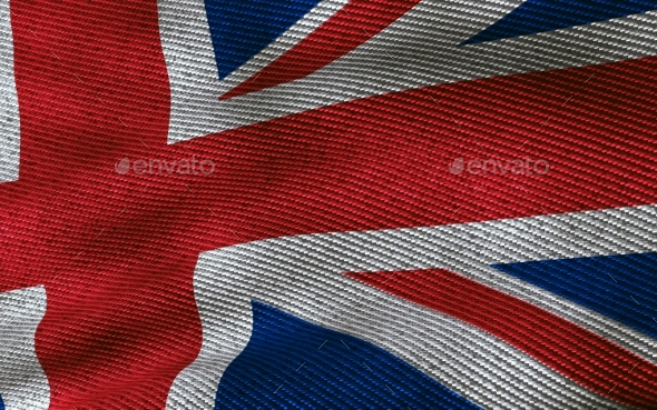 UK Flag with Fabric Texture - Miscellaneous 3D Renders