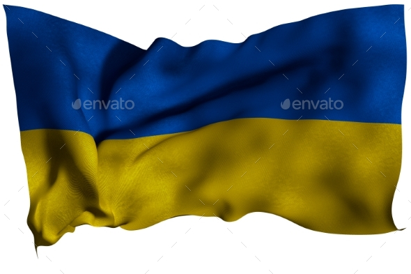 Ukraine Flag with Fabric Texture - Miscellaneous 3D Renders