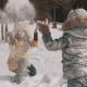 Mother Playing Snow with Little Daughter - VideoHive Item for Sale
