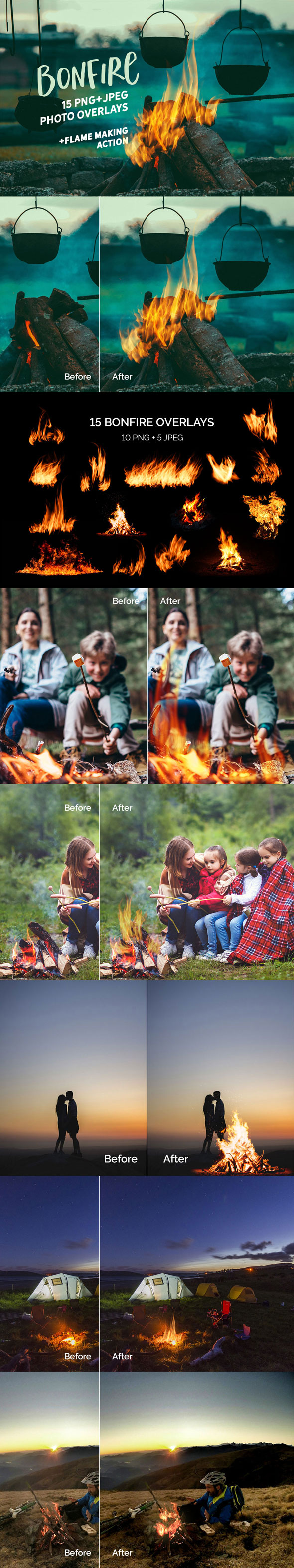 15 Bonfire Photo Overlays - Photo Effects Actions