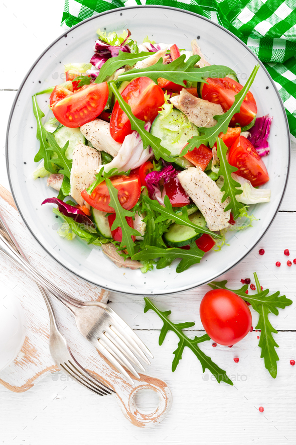 Chicken fillet salad with fresh vegetables - Stock Photo - Images