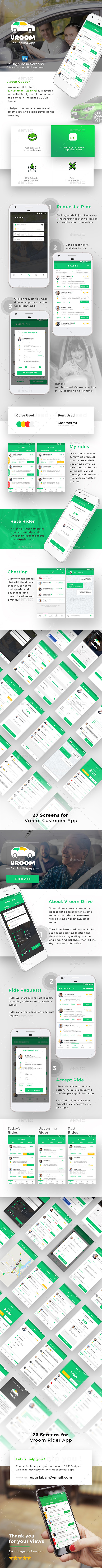 Car Pooling App UI Set | 53 High Reso Screens  | Vroom - User Interfaces Web Elements