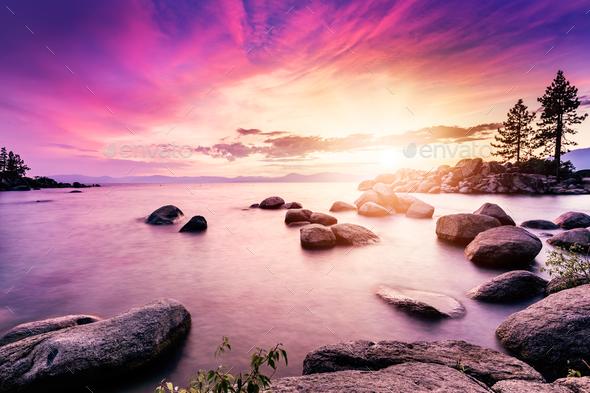 Lake beach sunset - Stock Photo - Images