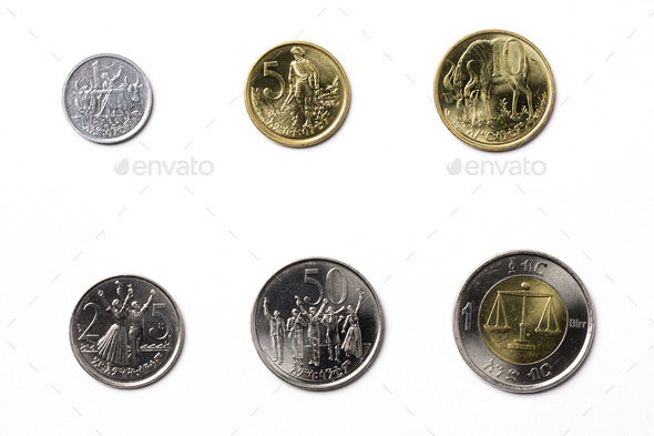 Ethiopian coins on a white background  - Stock Photo - Images