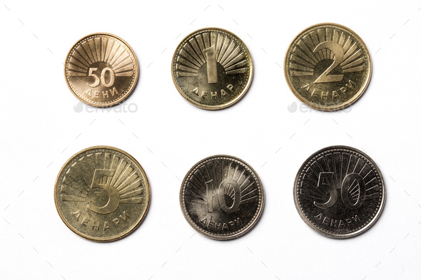 Macedonian coins on a white background  - Stock Photo - Images