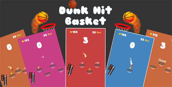 Dunk Hit Basket Unity3D Source code + Android iOS Supported + Ready to release - CodeCanyon Item for Sale