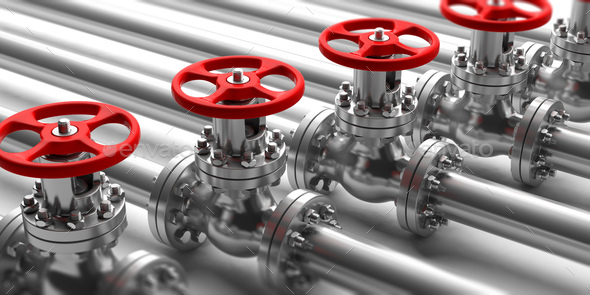 Industrial pipelines and valves close up on white background. 3d illustration - Stock Photo - Images