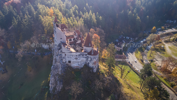 Medieval Bran castle. Brasov Transylvania, Romania - Stock Photo - Images