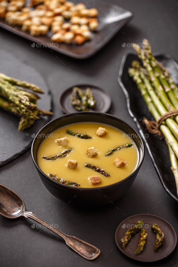 Asparagus cream soup - Stock Photo - Images