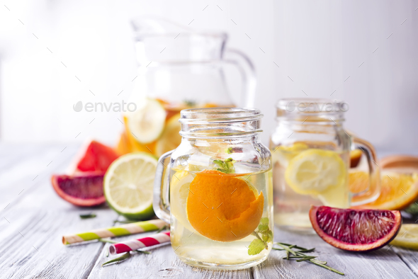 Refreshing summer drink orange frozen lemonade - Stock Photo - Images