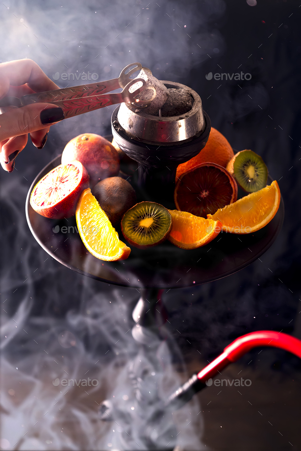 Hookah hot coals for smoking shisha and leisure - Stock Photo - Images