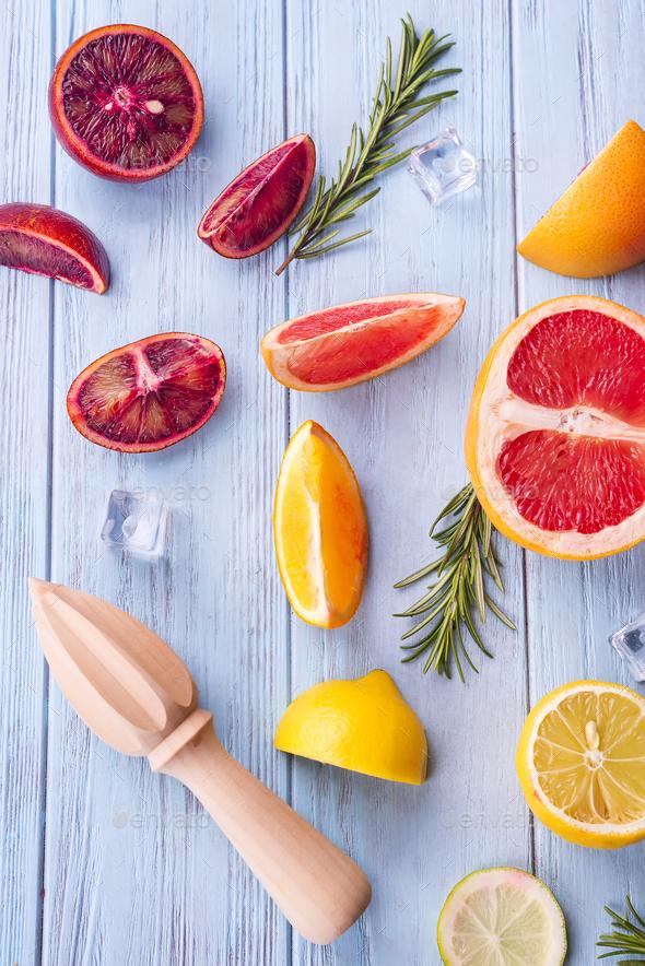 ingredients for summer drink orange frozen lemonade - Stock Photo - Images