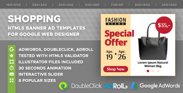 Shopping HTML5 Banners with Interactive Slider (GWD) - CodeCanyon Item for Sale