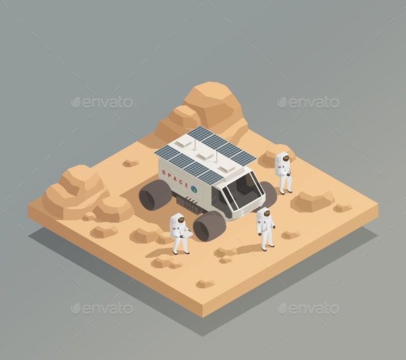 Planetary Rover Astronauts Isometric Composition - People Characters