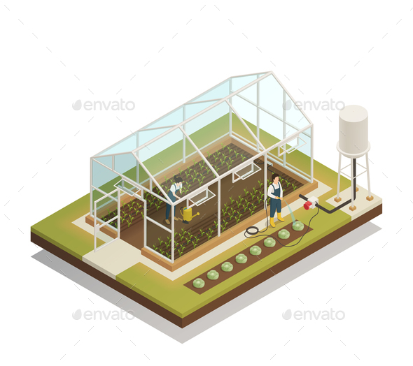 Greenhouse Facility Irrigation Isometric Composition - Industries Business