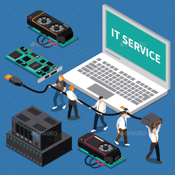 Isometric IT People Concept - Computers Technology