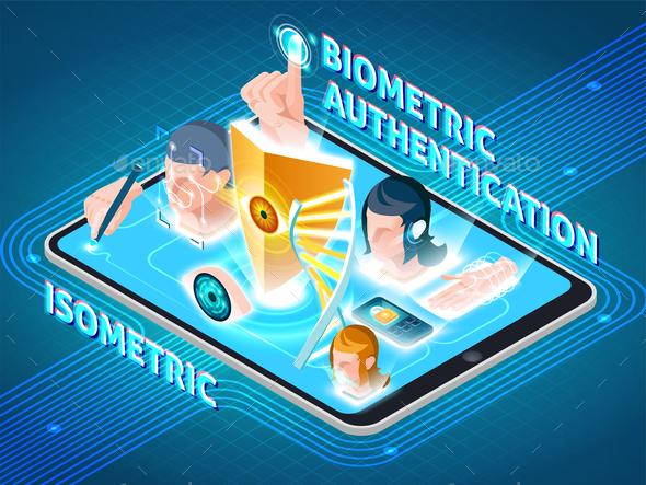 Biometric Authentication Smartphone Isometric Composition - Miscellaneous Vectors