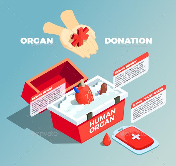 Organ Donation Isometric Composition - Miscellaneous Vectors