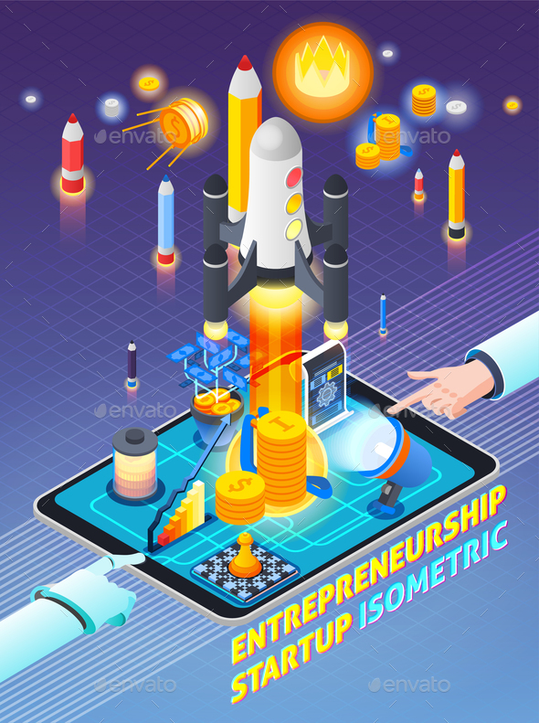 Entrepreneurship Activity Isometric Composition - Concepts Business