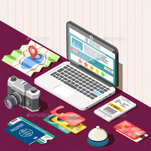 Online Booking Isometric Design Concept - Travel Conceptual