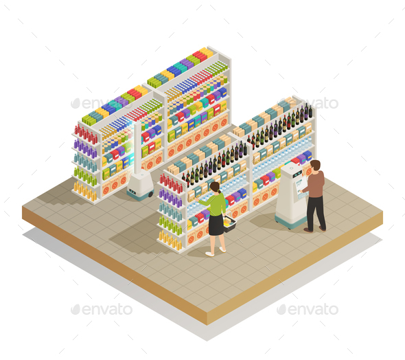 Supermarket Automated Technologies Isometric Composition - Retail Commercial / Shopping
