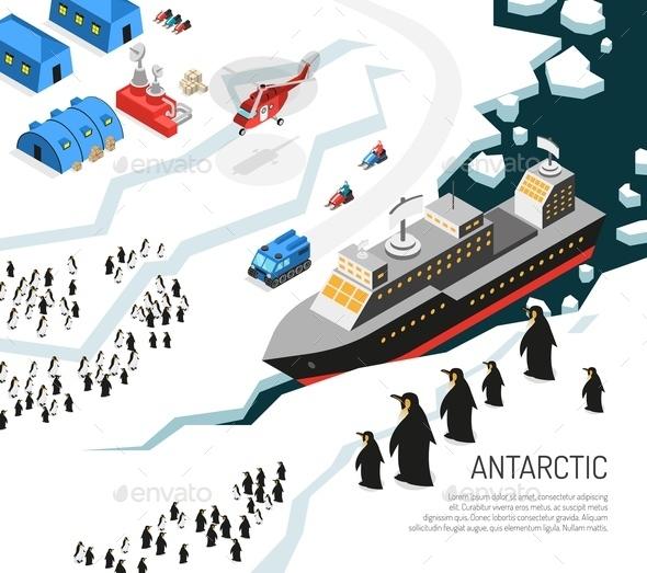 Antarctica Icebreaker Penguins Settlement Poster - Animals Characters