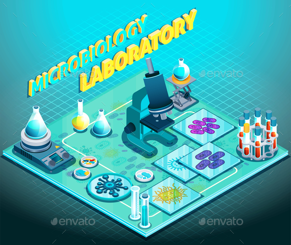 Microbiology Laboratory Isometric Composition - Miscellaneous Vectors